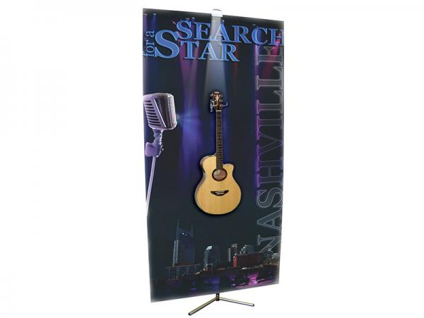 SPRINT Telescopic Banner Stand - Shown with Optional Fixture Adapter - Shown with double pronged hook that can be used with the Fixture Adaptor (requires slit cut through graphic) -