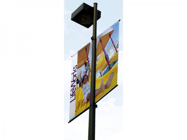 Boulevard Pole Banners - double sided, side by side shown on typical light pole