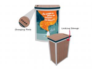 MOD-1267c Modular Pedestal with Locking Storage and Charging Ports -- Details